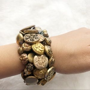Gold Tone Coated Button Layered Bracelet